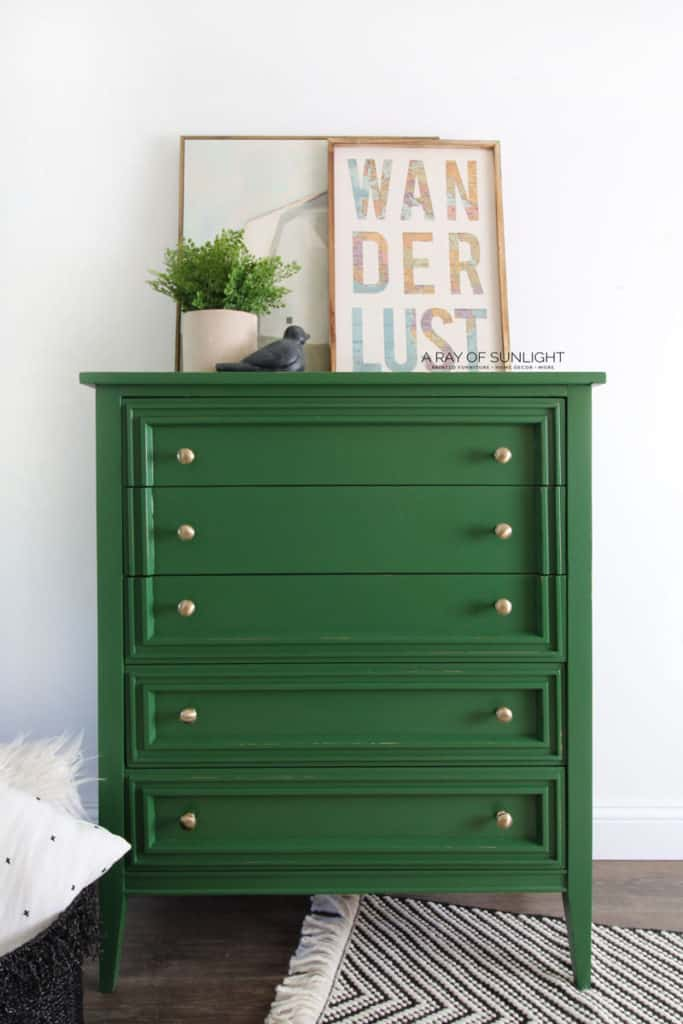 Modern Chest of Drawers Refinished in Bold Green Paint