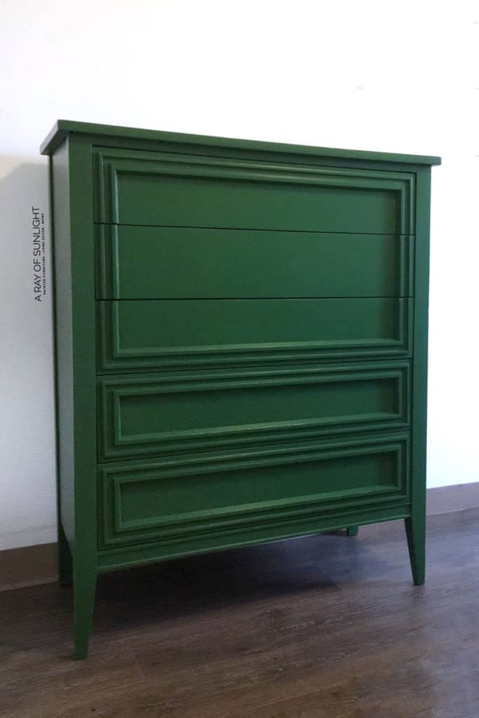 Refinished thrift store dresser in green chalk paint
