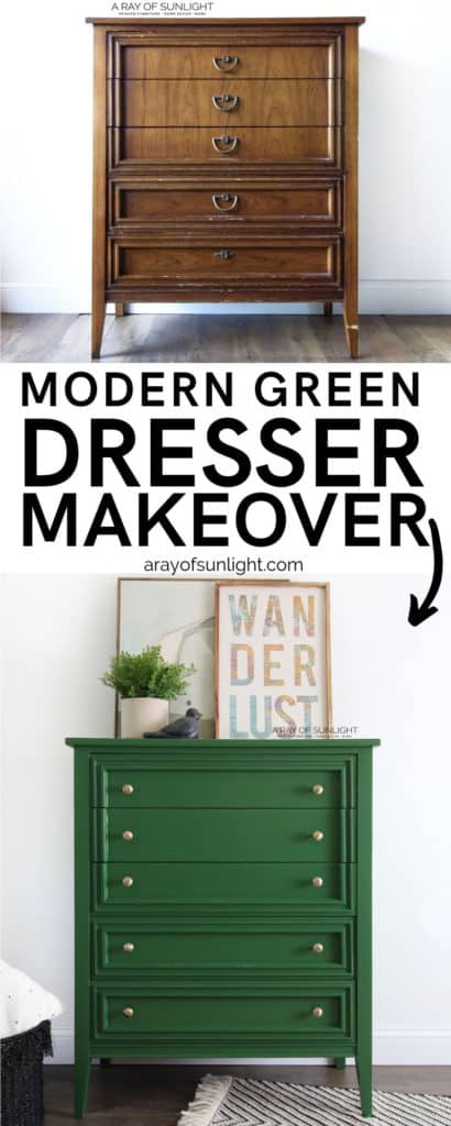Before and After - Modern Green Dresser Makeover