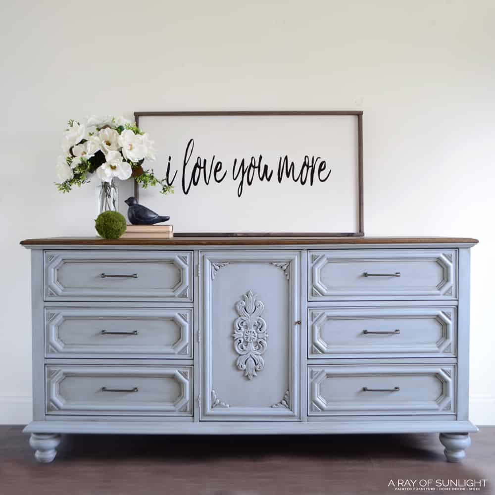 Light Blue Painted Dresser with Legs