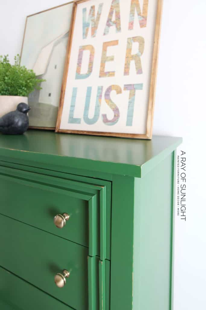 Green Painted Dresser with Gold Knobs- Side view