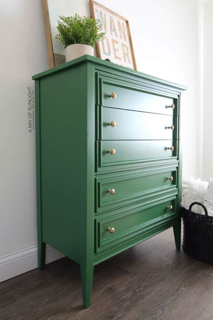 Modern Chest of Drawers Painted in Green Chalk Paint