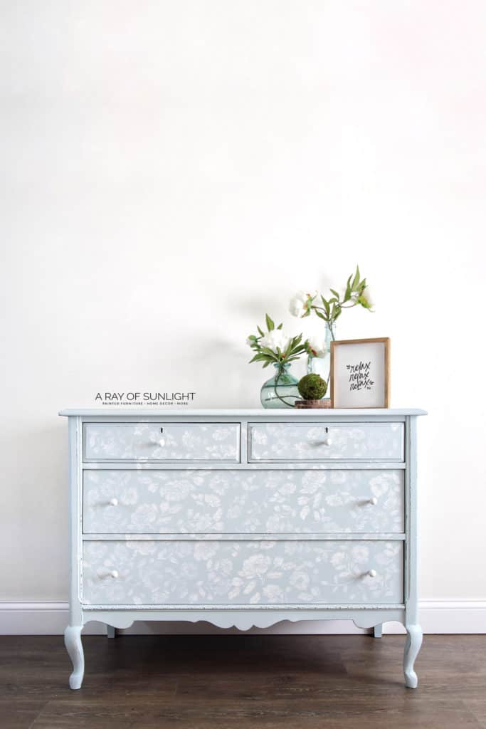 Light Blue Painted Dresser with White Floral Stencil Full Reveal
