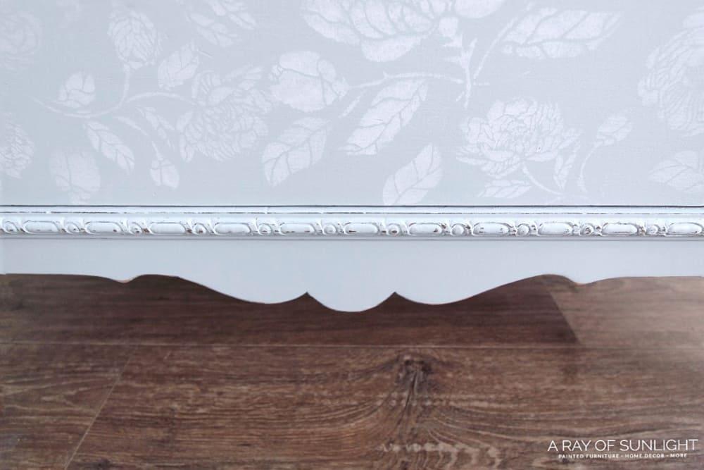 Closeup of bottom drawer on dresser
