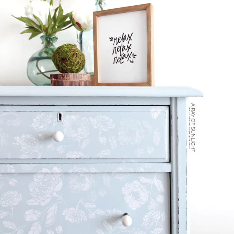Closeup of stenciled dresser all finished