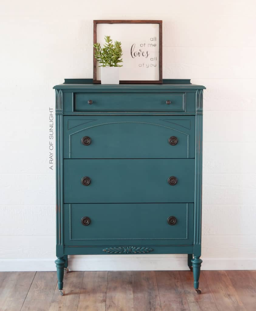 After - Teal Painted Antique Dresser