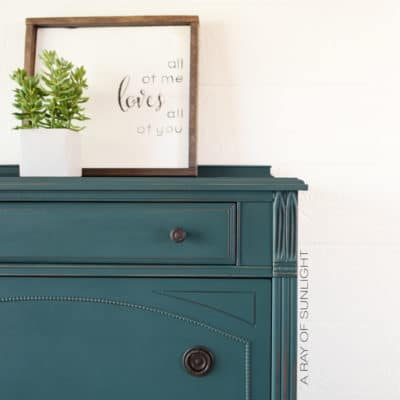Teal Painted Antique Dresser Makeover