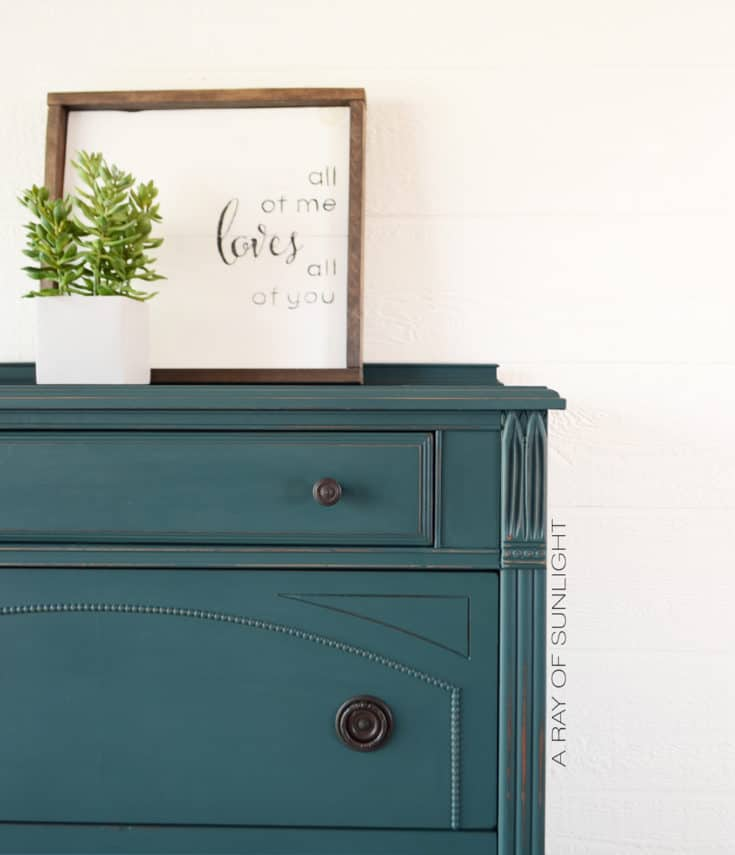 The Teal Painted Dresser Makeover