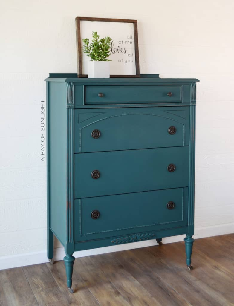 Side view of Teal Painted Dresser