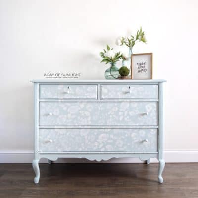 Light Blue Stenciled Dresser White Flowers