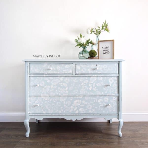 Light Blue Stenciled Dresser White Flowers