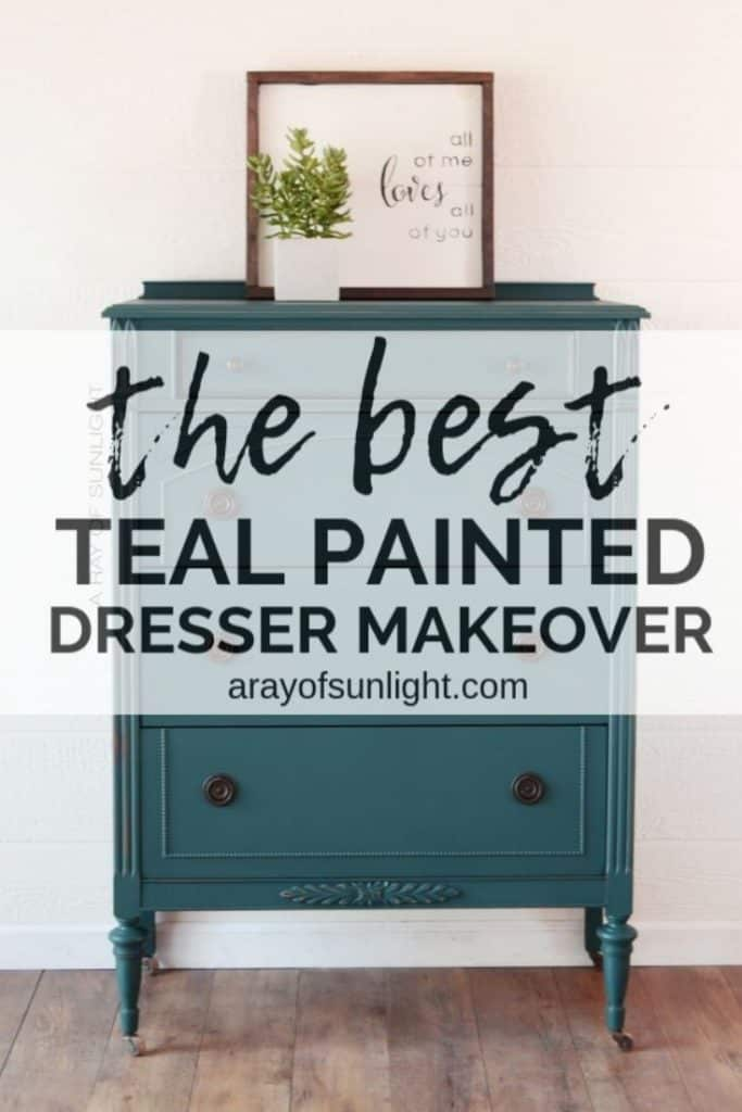 the best teal painted dresser makeover graphic