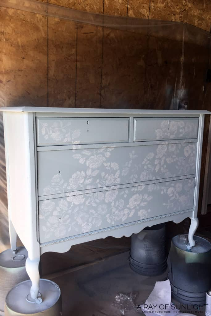 Stenciled dresser in progress