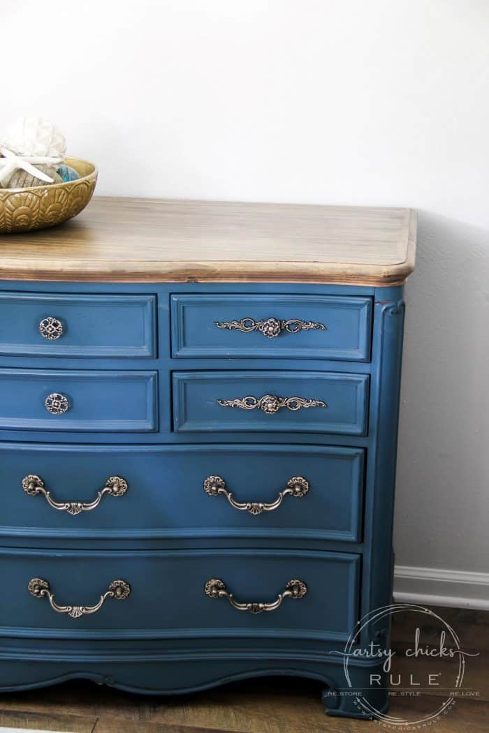 Aubusson Blue Chalk Paint Dresser (makeover, again!)