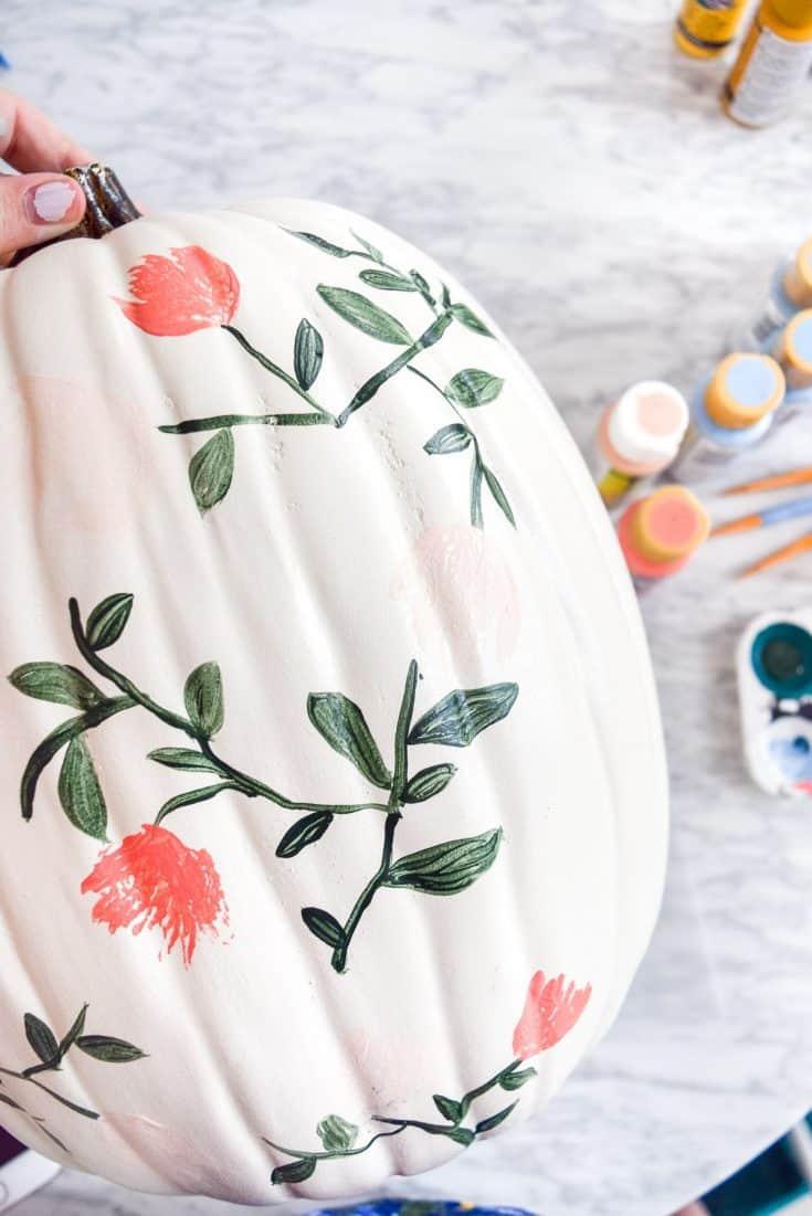 Flower Painted Pumpkins