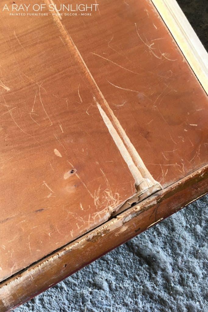 Broken drawer bottom