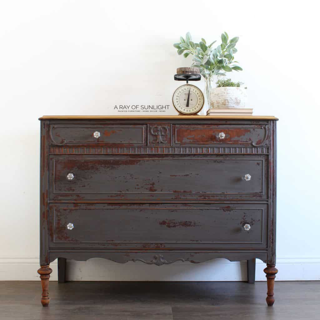 Dresser Painted in Gray Milk Paint