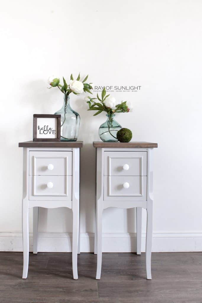 Pair of Nightstands Painted in Acrylic Paint
