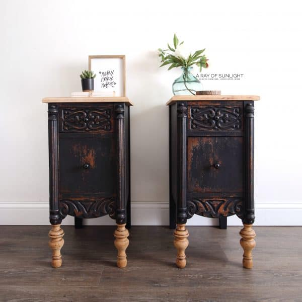 pair of nighstands - vintage chippy black