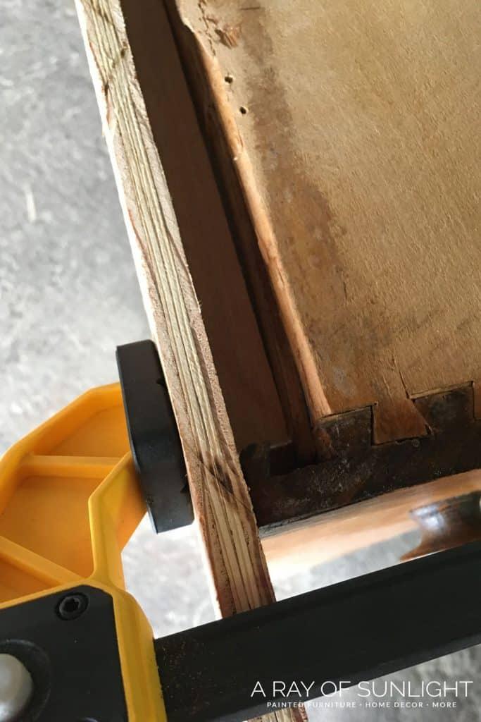 Build wood box to repair drawer with bondo