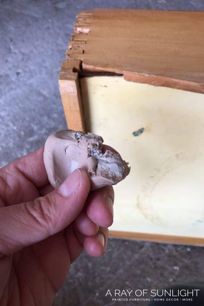 Repair broken drawer with Kwikwood