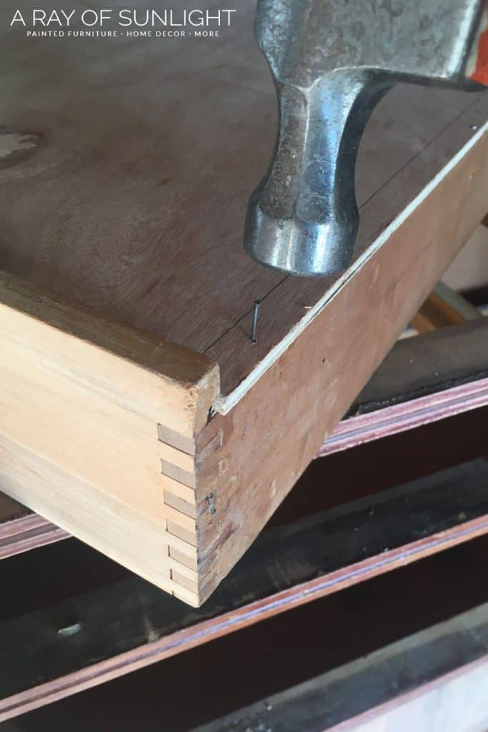 Fix sagging drawers by securing it in place