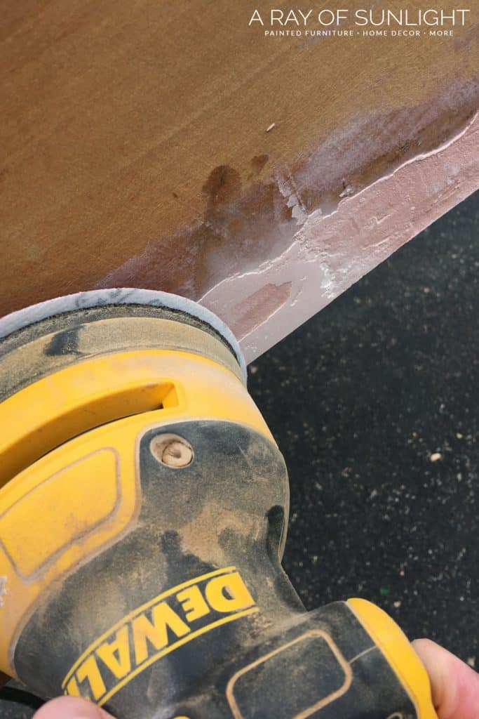 Bondo repaired drawer - sand down smooth