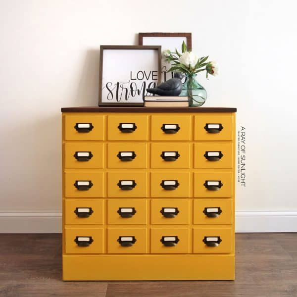 mustard yellow card catalog dresser