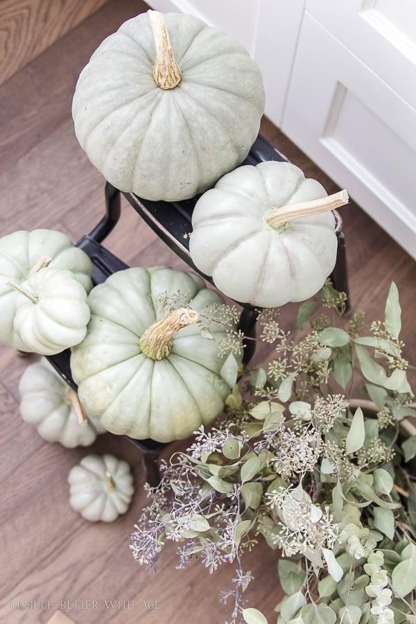 Green Painted Pumpkins