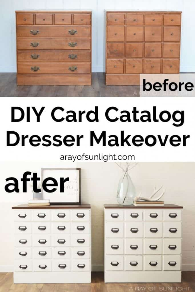 DIY Farmhouse Card Catalog Dresser Makeover