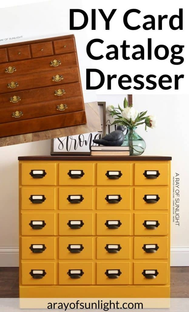 DIY Mustard yellow Card Catalog Dresser