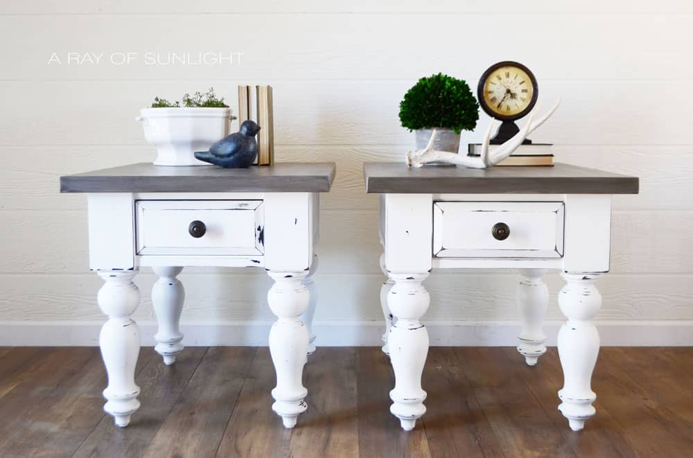 gray and white farmhouse table