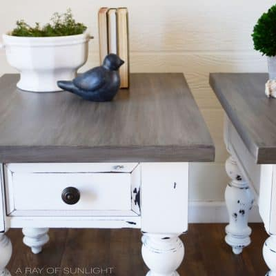 White Farmhouse End Tables with Weathered Wood Tops