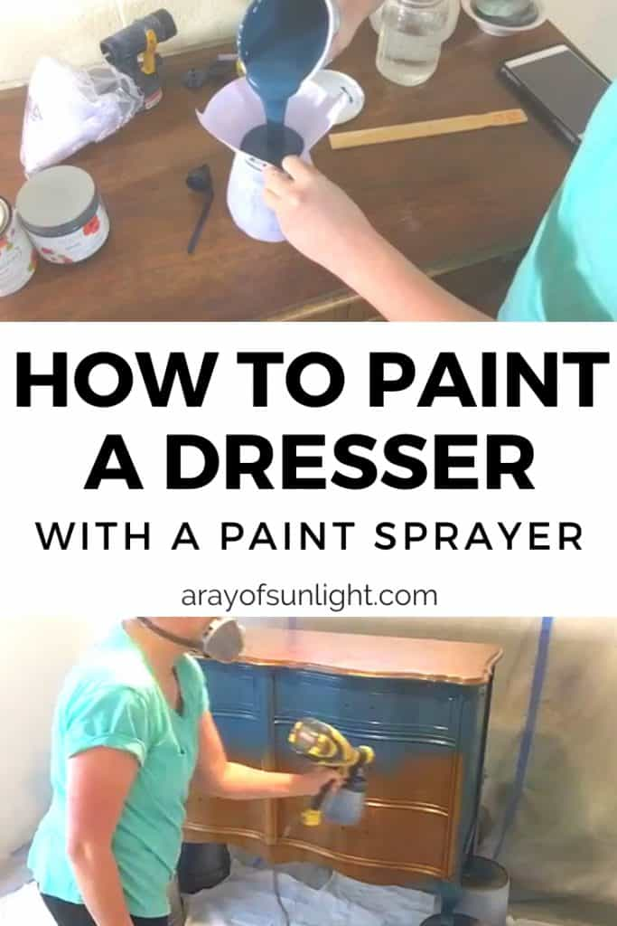 Using a paint sprayer to paint a dresser