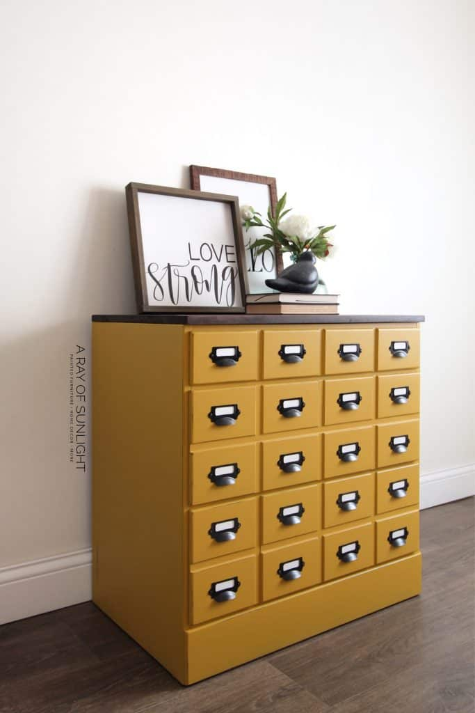 diy mustard yellow card catalog dresser with stained top