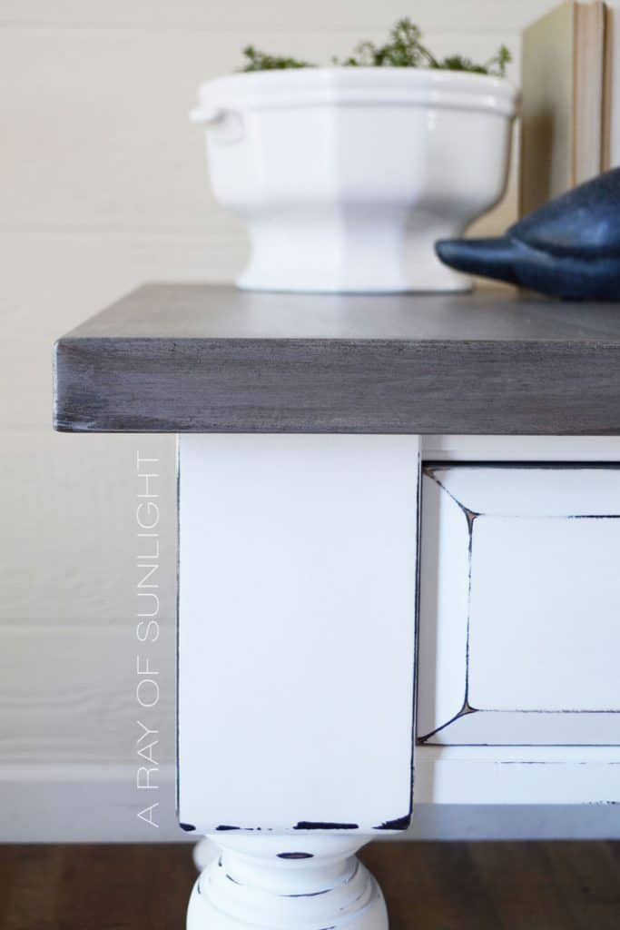weathered wood end table
