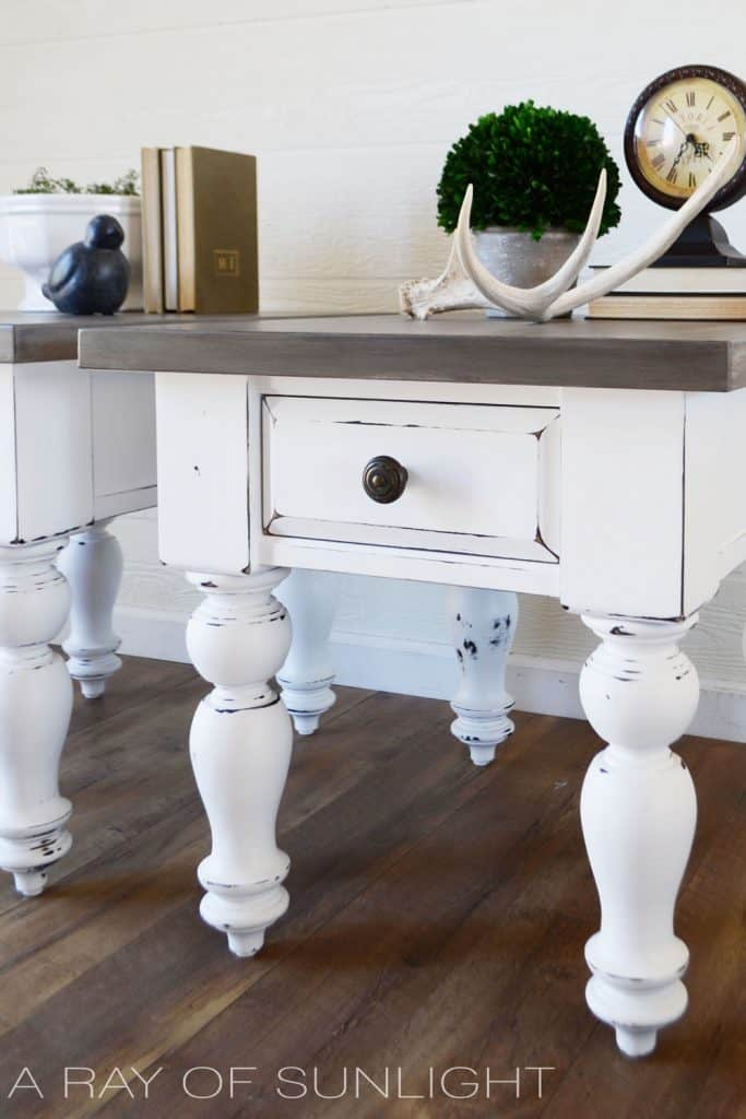 Grey and white farmhouse table