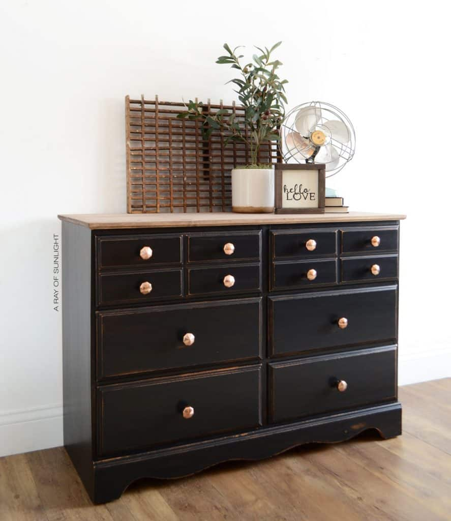 black farmhouse dresser with wood top
