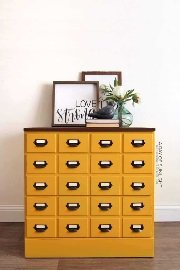 diy card catalog dresser in mustard yellow and stained top