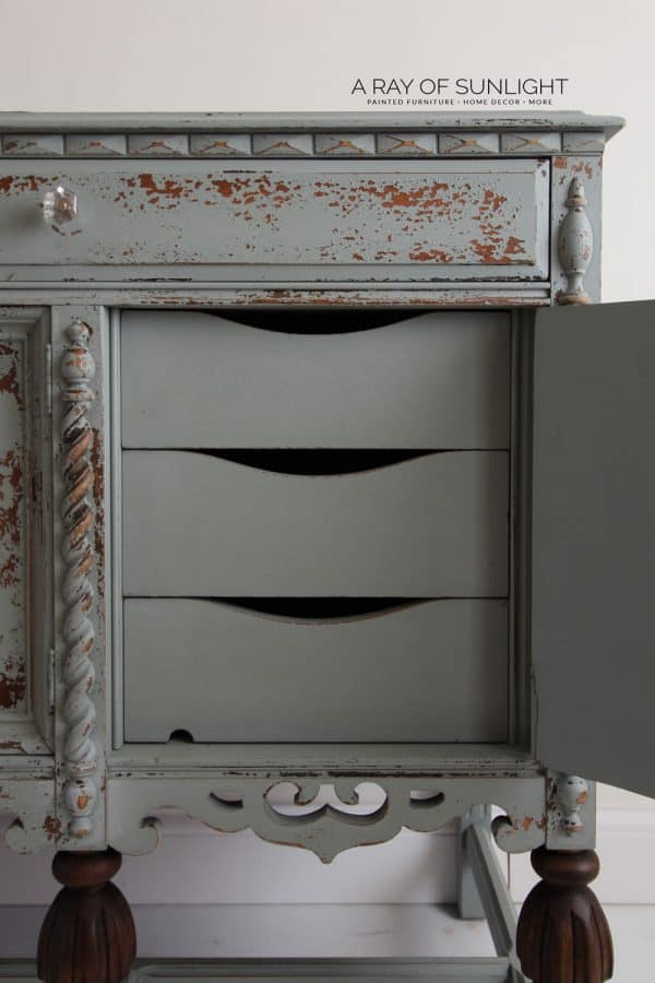 farmhouse buffet painted in sage gray