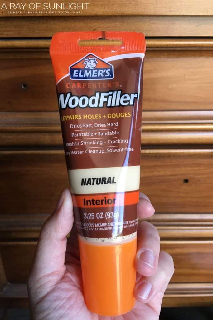 How to change hardware on a dresser - wood filler
