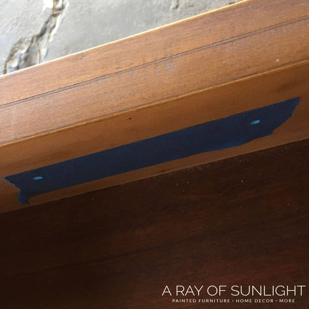 How to Change hardware on a dresser - tape off drawer