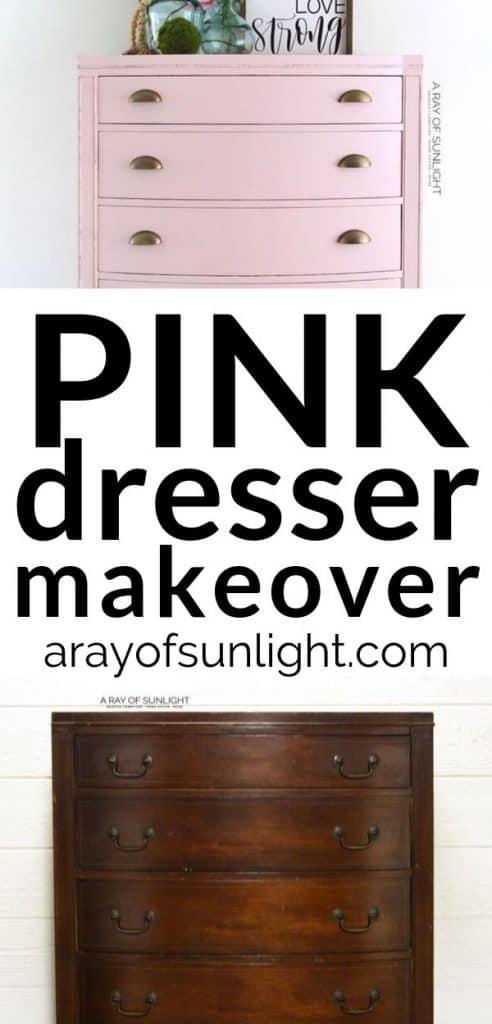 diy vintage pink dresser makeover
