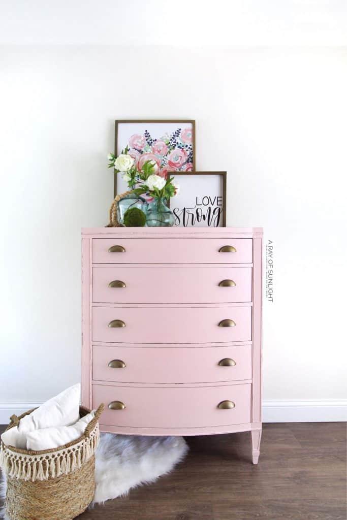 Refinished Pink Vintage Dresser
