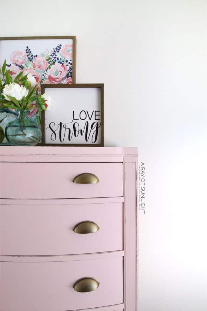 Gold Cup Pulls on Tall Pink Dresser