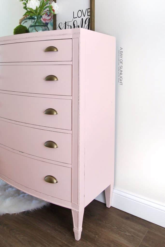 Tall Pink and Gold Dresser