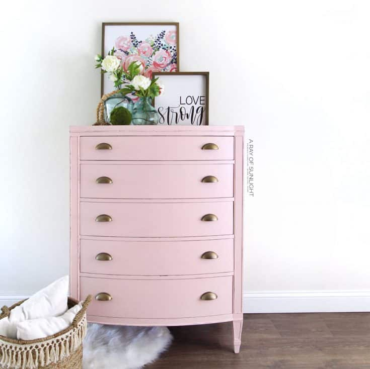 Pink Vintage Dresser with Gold Hardware
