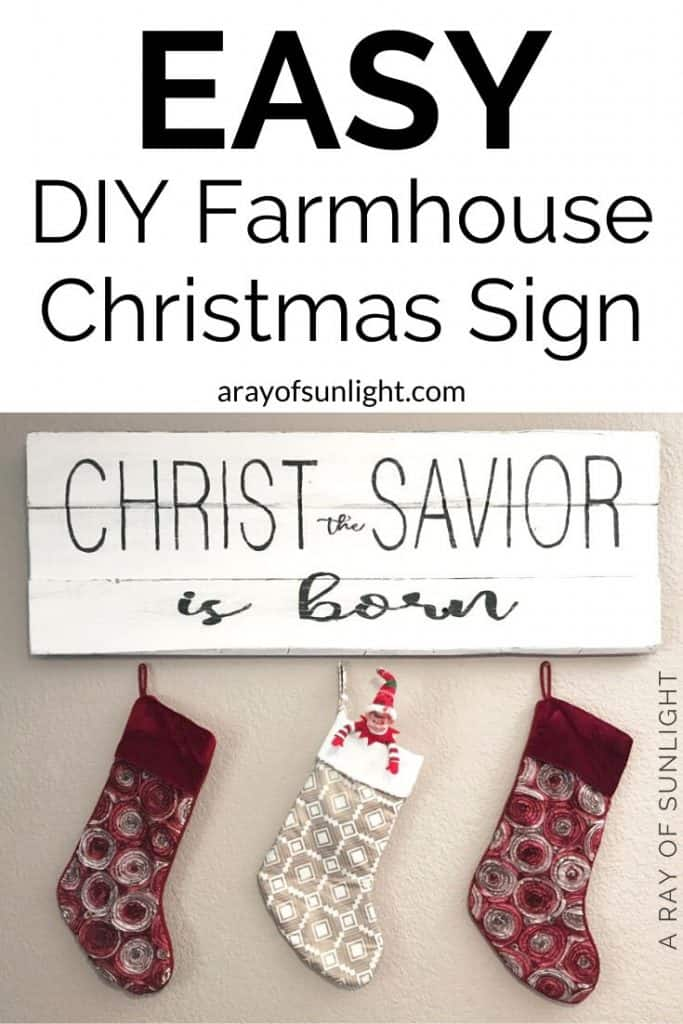 DIY Farmhouse Christmas Sign - Hand Painted with Template