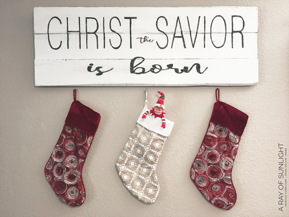 Christ the Savior is Born Wood Sign with Stockings