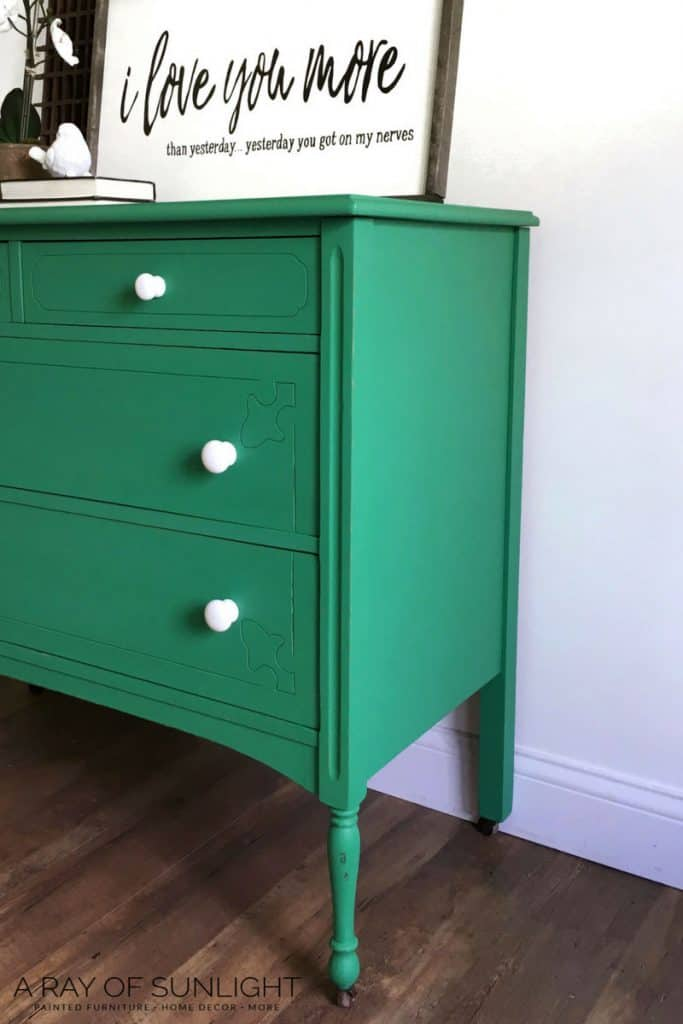Green Painted Dresser After